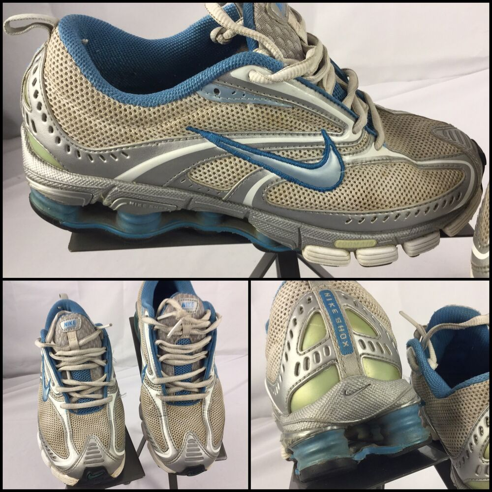 Nike Shox Size 6 Womens Silver Blue Running Shoes EUC M4U ...