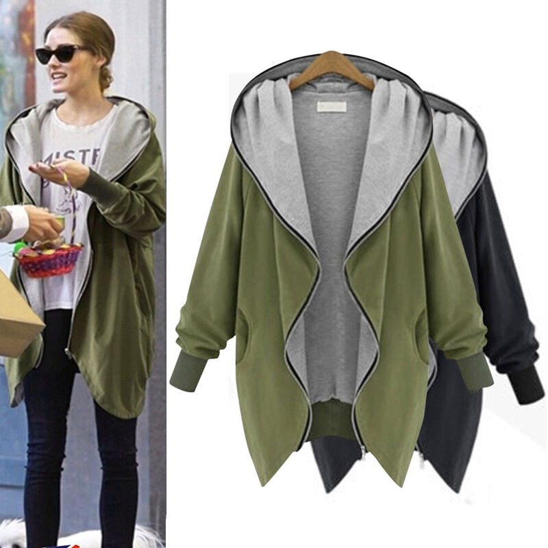 Plus Size Womens Oversize Jackets Coat Hoodie Cardigan