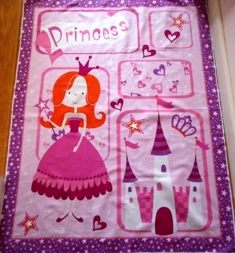 Baby Quilt Fabric Panel Princess Castle Girl Pink David