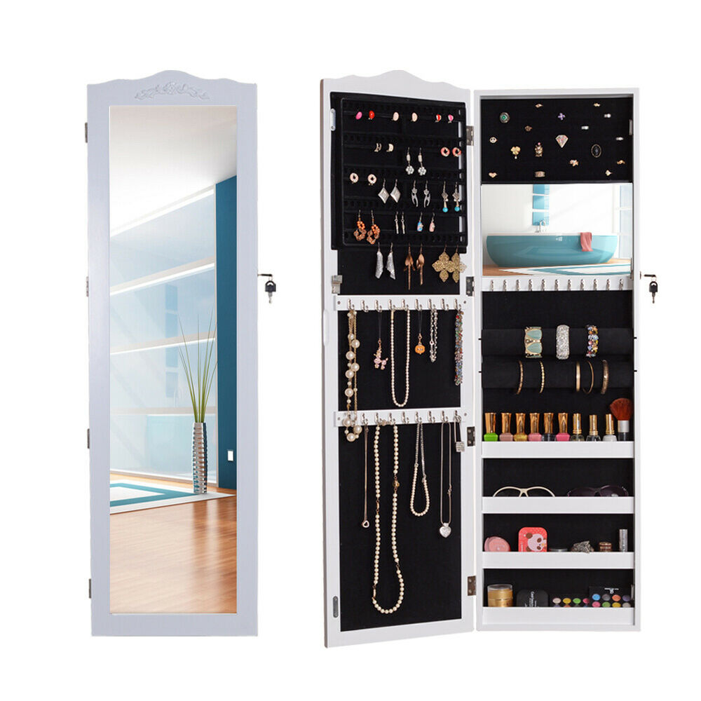 Wall/Door Mount Mirror Jewelry Armoire Cabinet Accessory