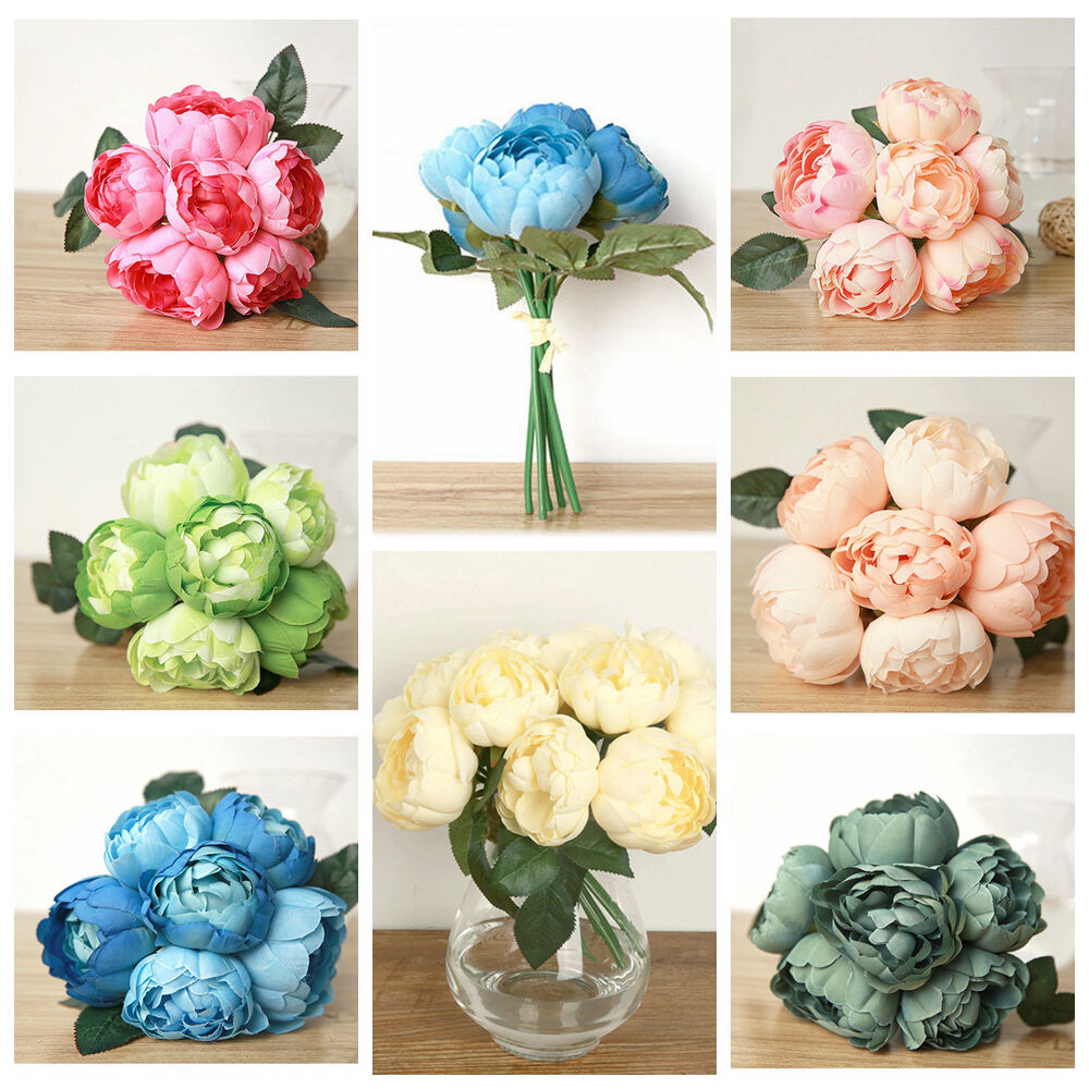1 Bouquet 6pcs Artificial Fake Peony Silk Flower Wedding Party Diy Home Decor Ebay