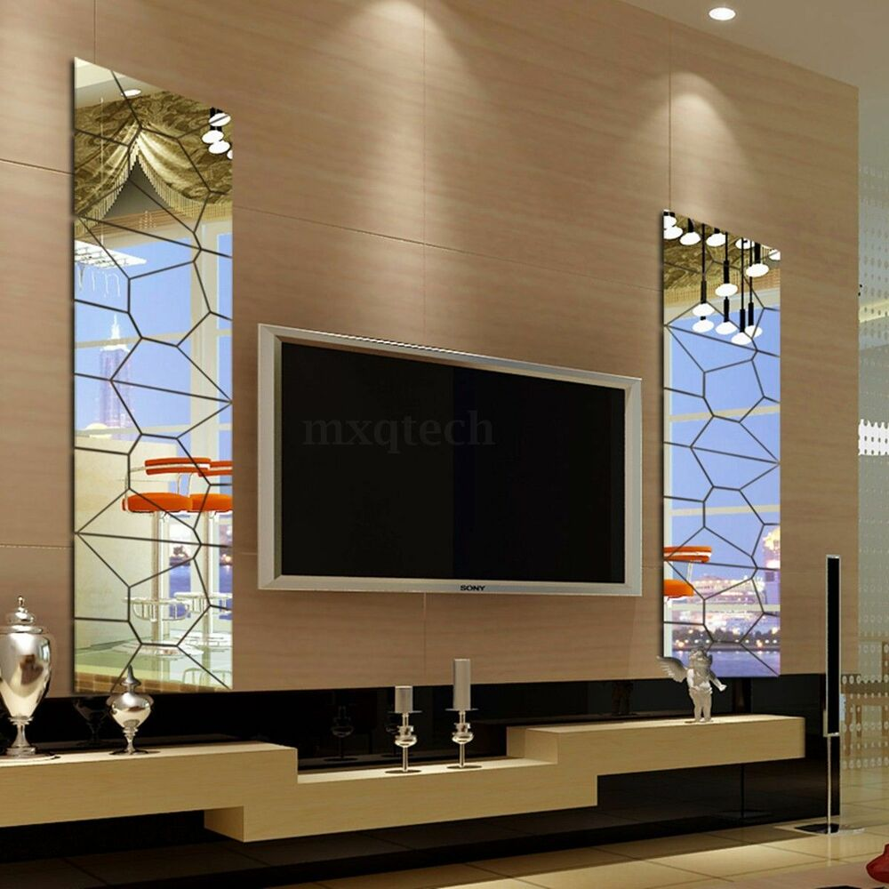 Vkatech 3D Acrylic Modern Mirror Decal Art Mural Wall Sticker For Home Living Room Decoration