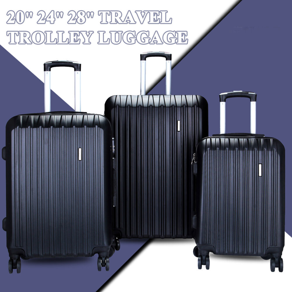 3pcs Luggage Travel Set Bag Abs Trolley Spinner Carry On