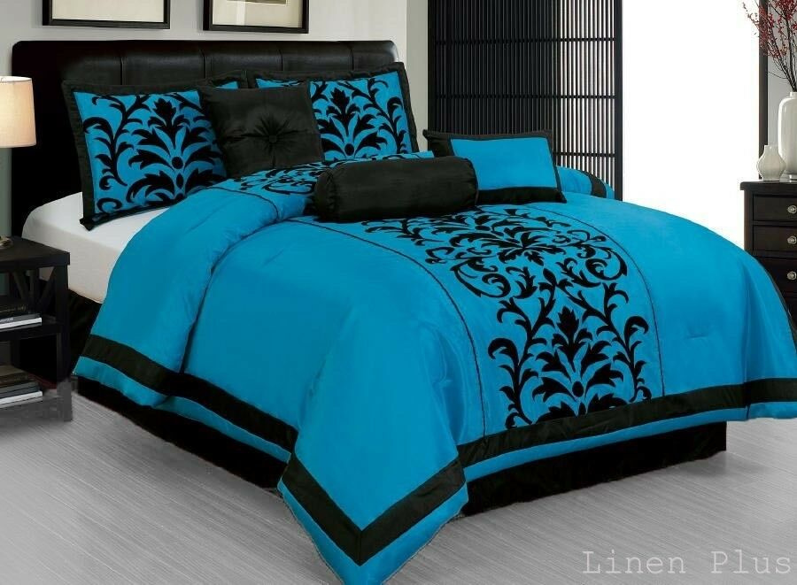 Black And Yellow Comforter Queen: Turquoise Black Comforter Set DT6 Linen Plus Collection
