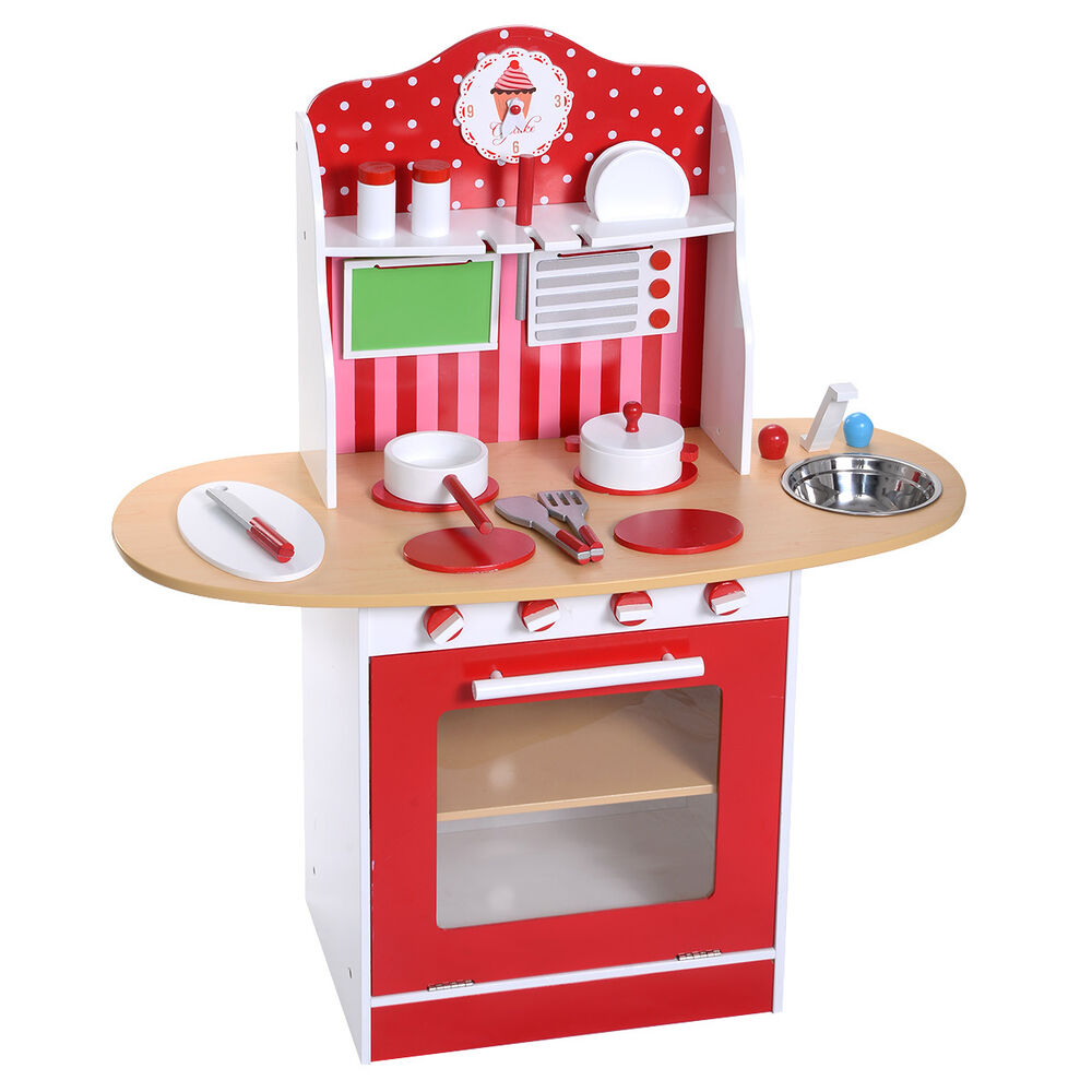 Kids wood kitchen toy cooking pretend play set toddler for Kitchen set wooden