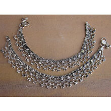 Anklets Bracelet Boho Bare Foot Chain Ankle Jewelry Indian Payal Vintage Silver