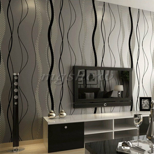 10m roll upgrade 3d non woven wallpaper curve stripe for Home wallpaper ebay