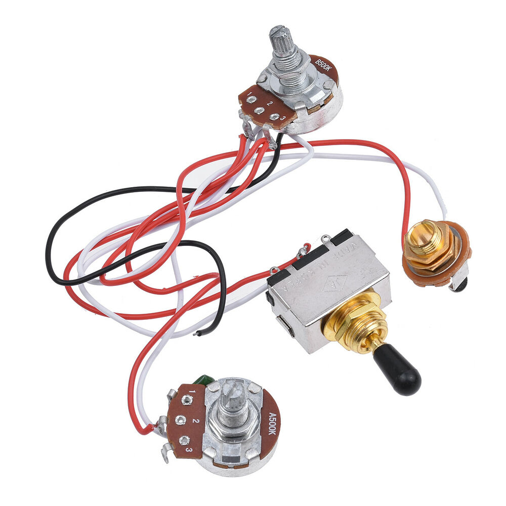 Prewired Wiring Harness Kit 3 Way Toggle Switch 500k For Electric Guitar Parts