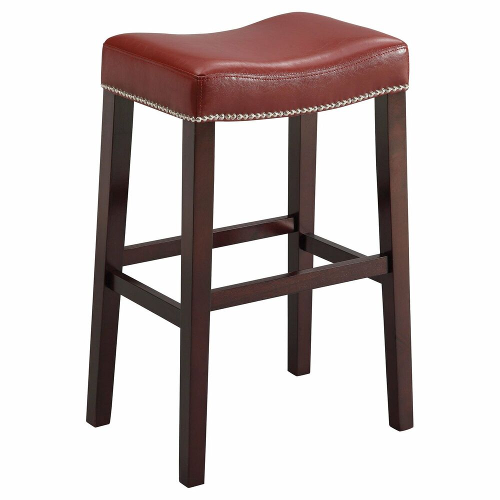 Acme Furniture Lewis Counter Stool Set Of 2 In Red Pu
