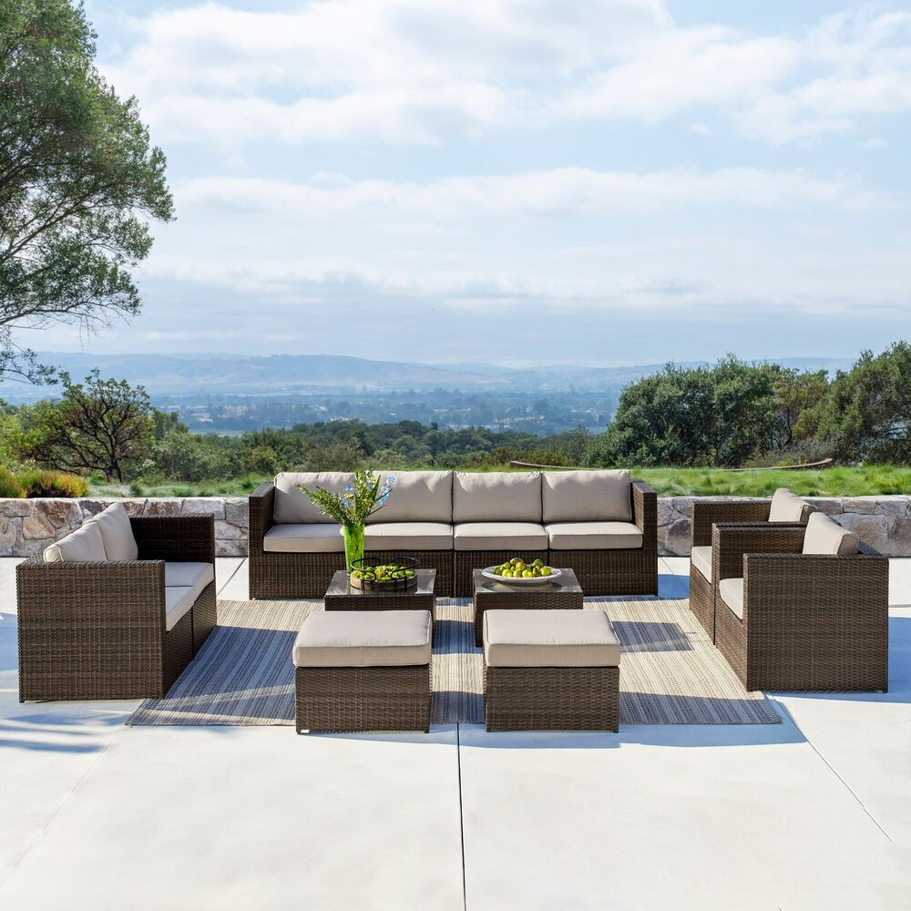 Supernova 12pc outdoor rattan wicker sofa sectional patio for Outdoor patio couch set