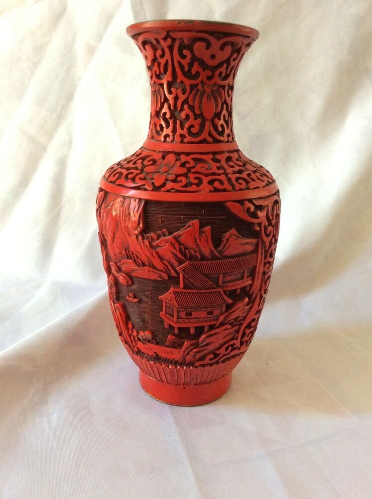 Antique Chinese Lacquer On Brass Vase Carved Landscape