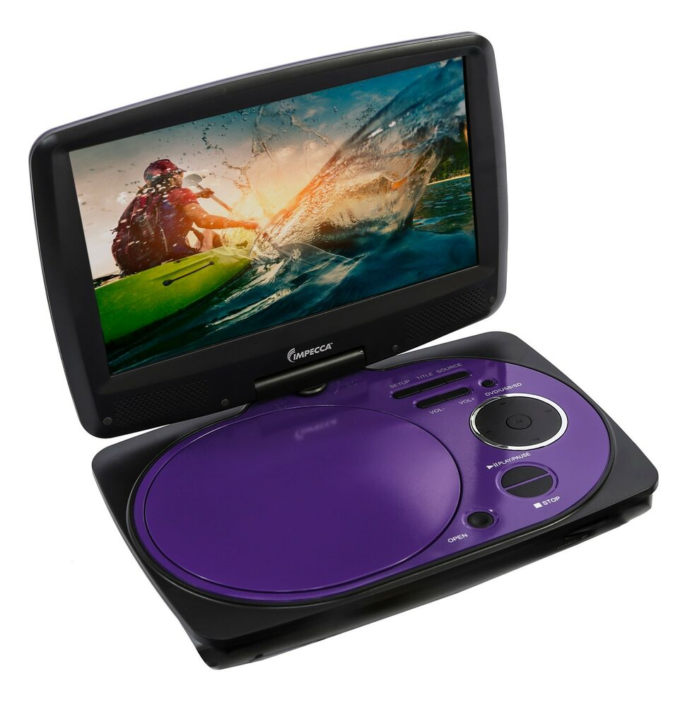 impecca 9 inch swivel portable dvd player purple ebay. Black Bedroom Furniture Sets. Home Design Ideas