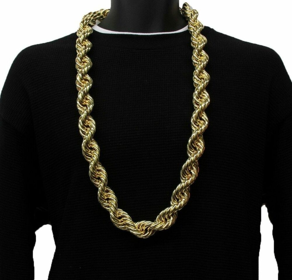 18k yellow gold plated heavy run dmc 20mm hip hop rope. Black Bedroom Furniture Sets. Home Design Ideas