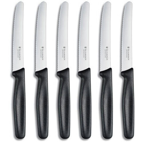 victorinox br tchenmesser tafelmesser mit wellenschliff im 6er set ebay. Black Bedroom Furniture Sets. Home Design Ideas