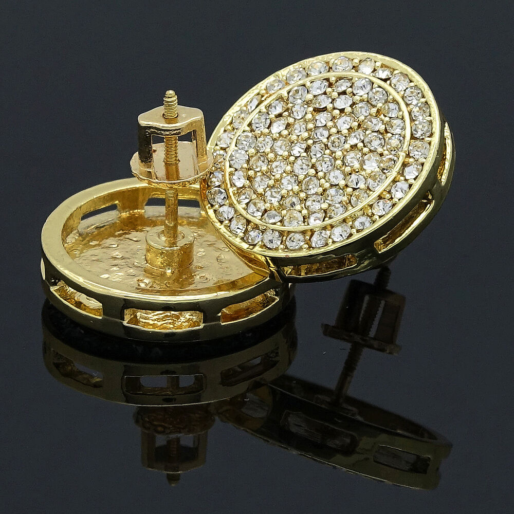 circle earrings for guys mens hip hop iced out xl circle cz flat screen 5374