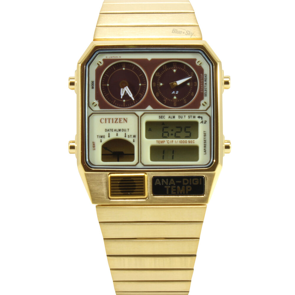 citizen jg2002 53p gold vintage temperature s digital
