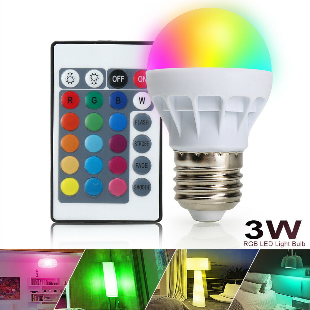 3w e27 rgb 16 bunt led birne farbwechsel lampe licht mit ir fernbedienung 150lm ebay. Black Bedroom Furniture Sets. Home Design Ideas