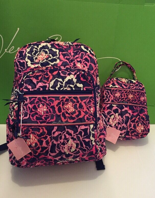 NWT Vera Bradley Large Campus Backpack With Lunch Box ...