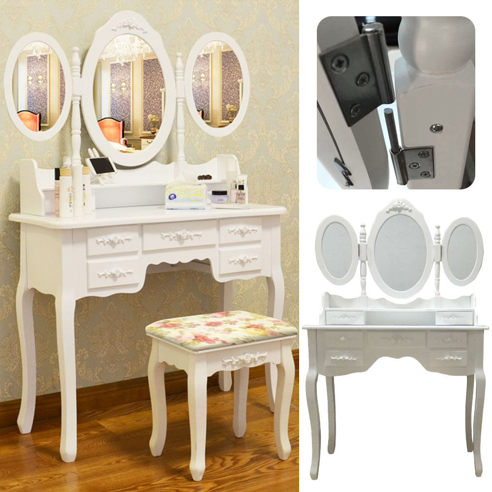 Shabby chic dressing table vanity makeup with 7 drawers 3 for Makeup vanity table and mirror