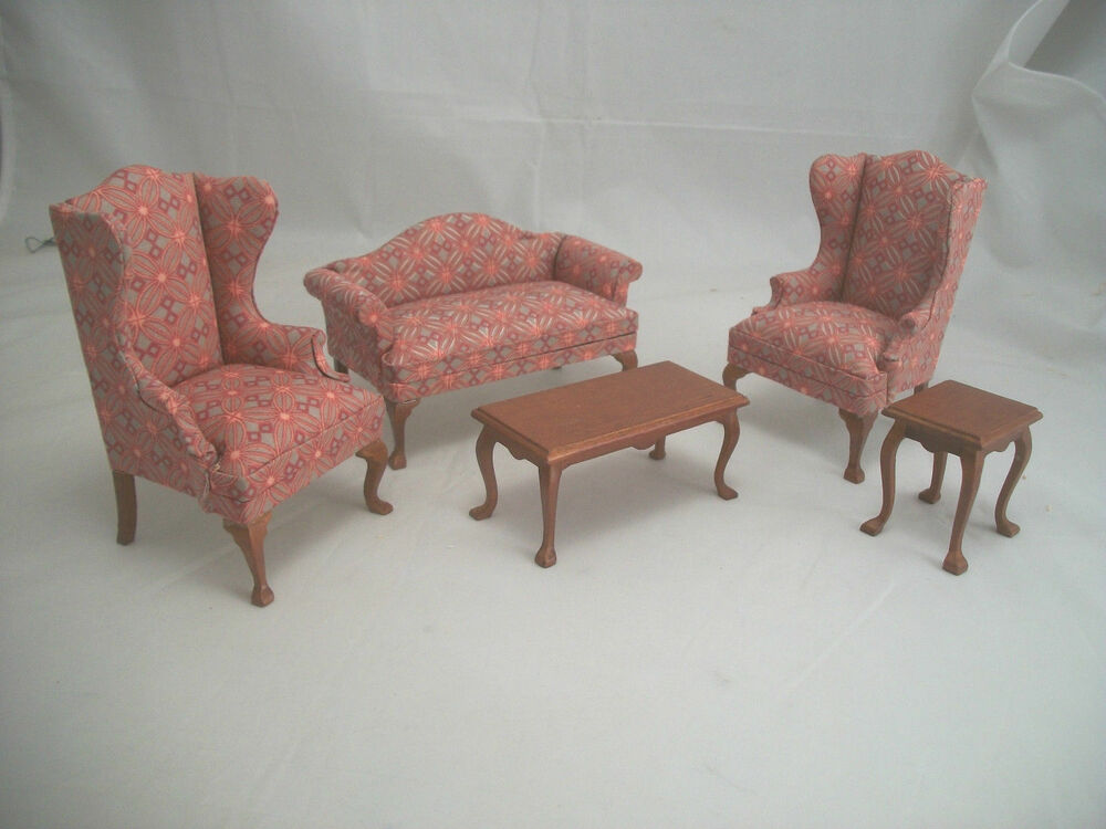cool 12 scale dollhouse living room set | Family Living Room Set dollhouse miniatures 5pc T6854 1/12 ...