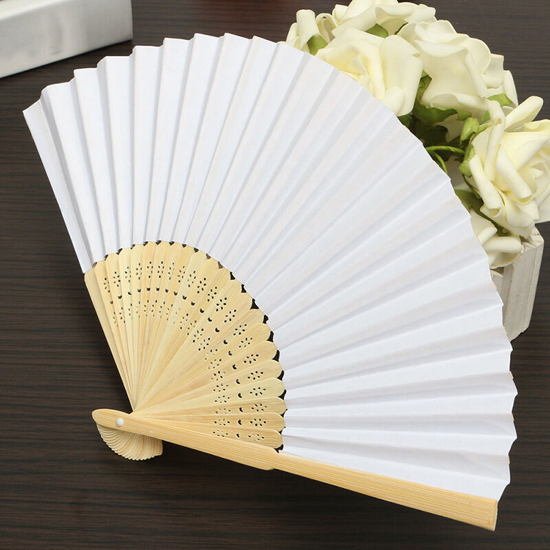 Lady White Silk Folding Hot Hand Fan For Outdoor Bridesmaid Wedding Party Favor
