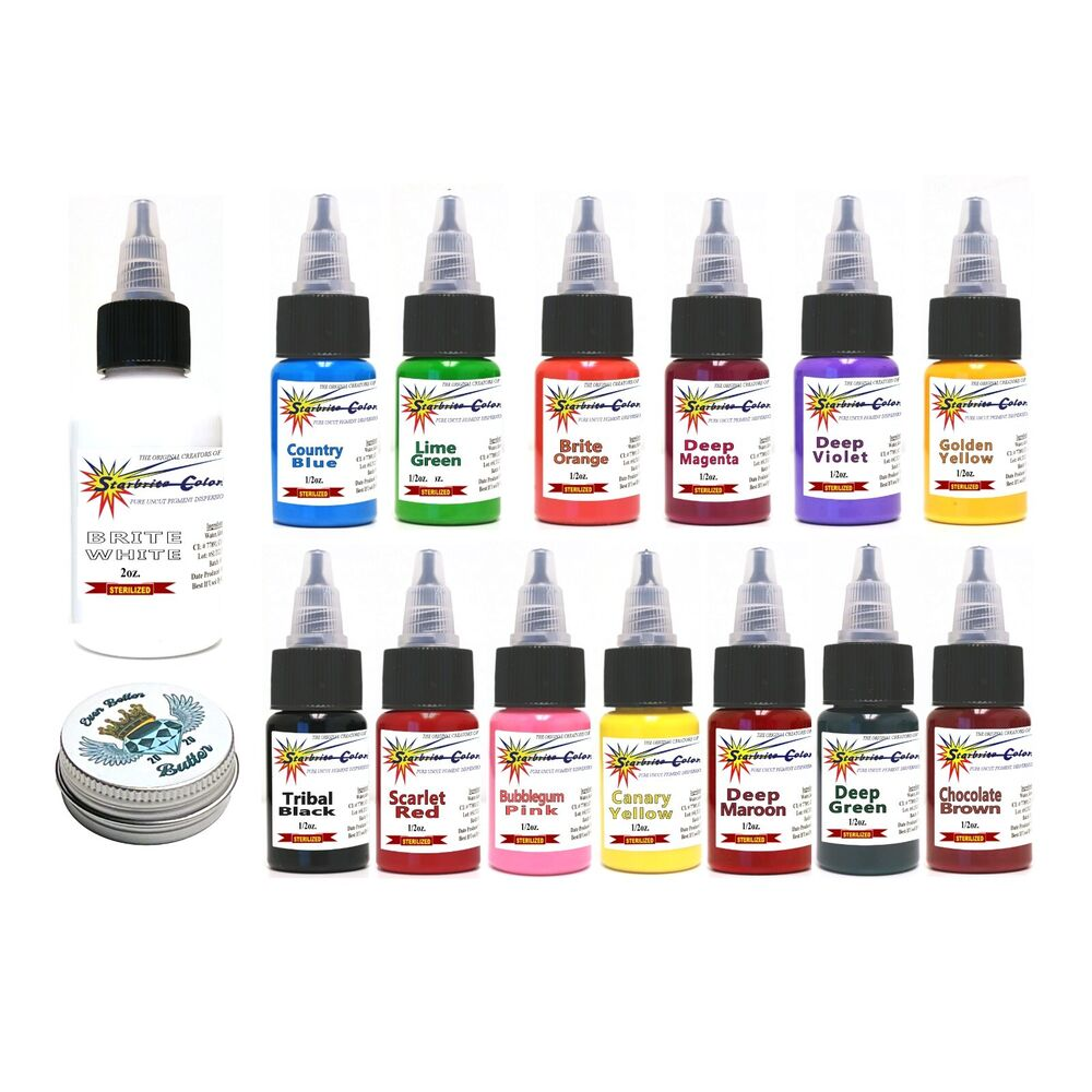 Authentic starbrite 14 color tattoo ink set kit starbright for Ebay tattoo ink