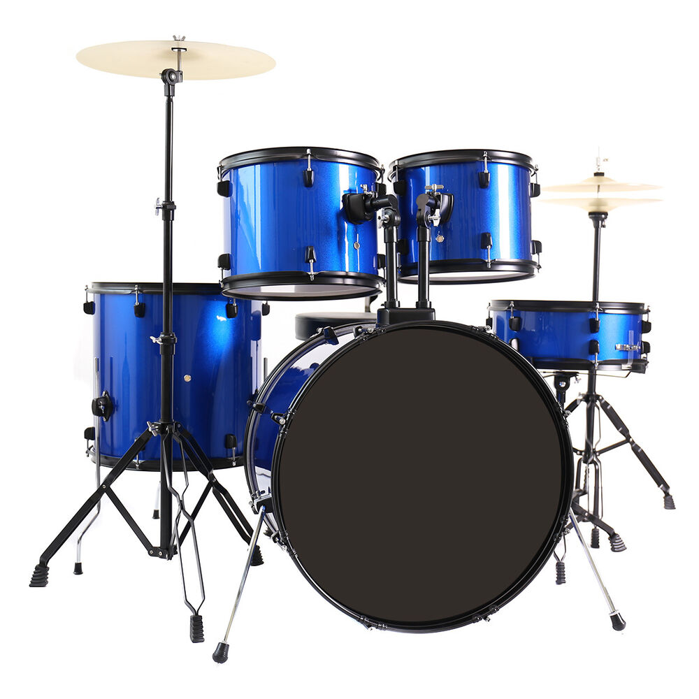 New 5 Piece Full Size Complete Adult Drum Set Cymbal
