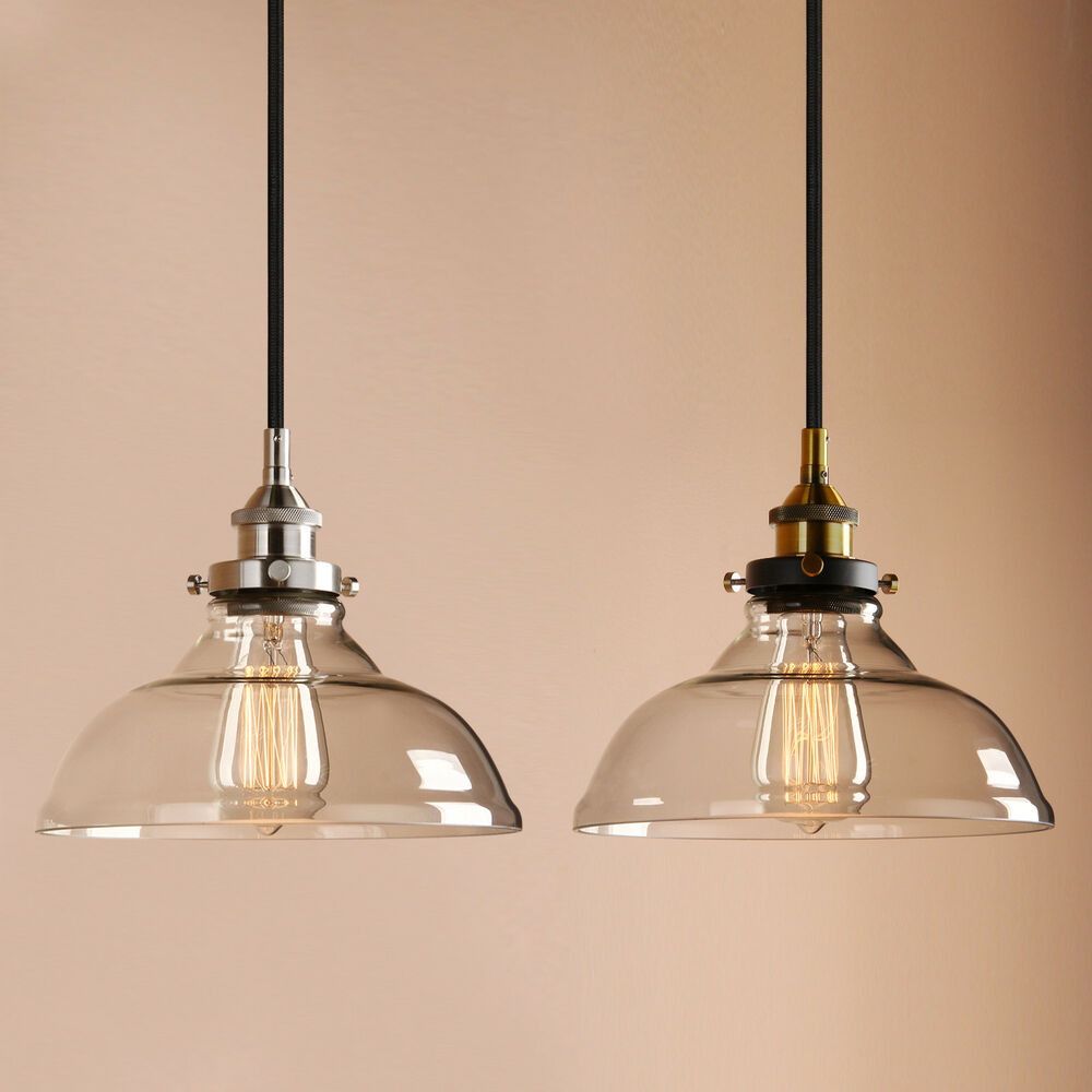 PERMO 10 Clear Glass Edison Retro Industrial Pendant Light Loft Ceiling