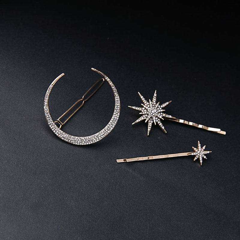 3pcs Set Rhinestone Moon Star Hair Clips Vintage Hair Pin