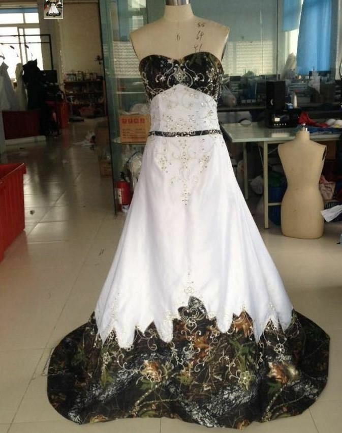New fashion camo wedding dresses lace up custom made all for Us size wedding dresses