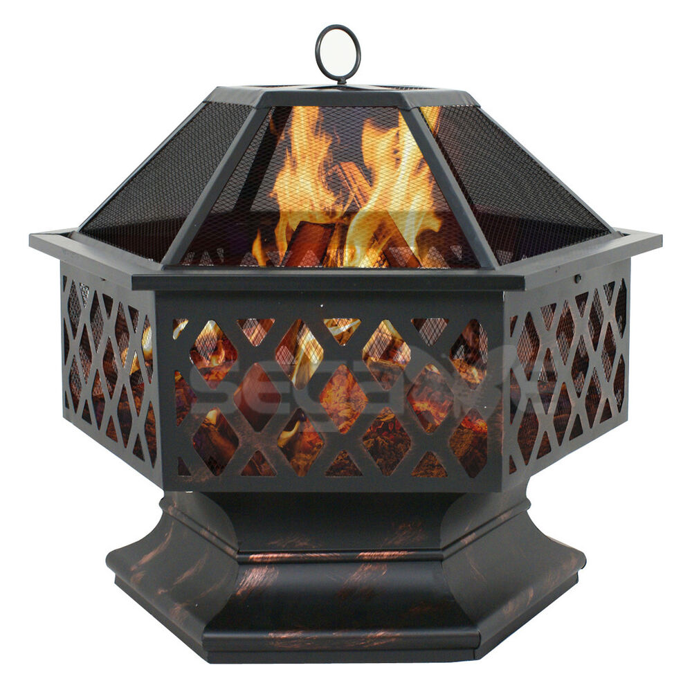 Outdoor hex shaped patio fire pit home garden backyard for Buy outdoor fire pit