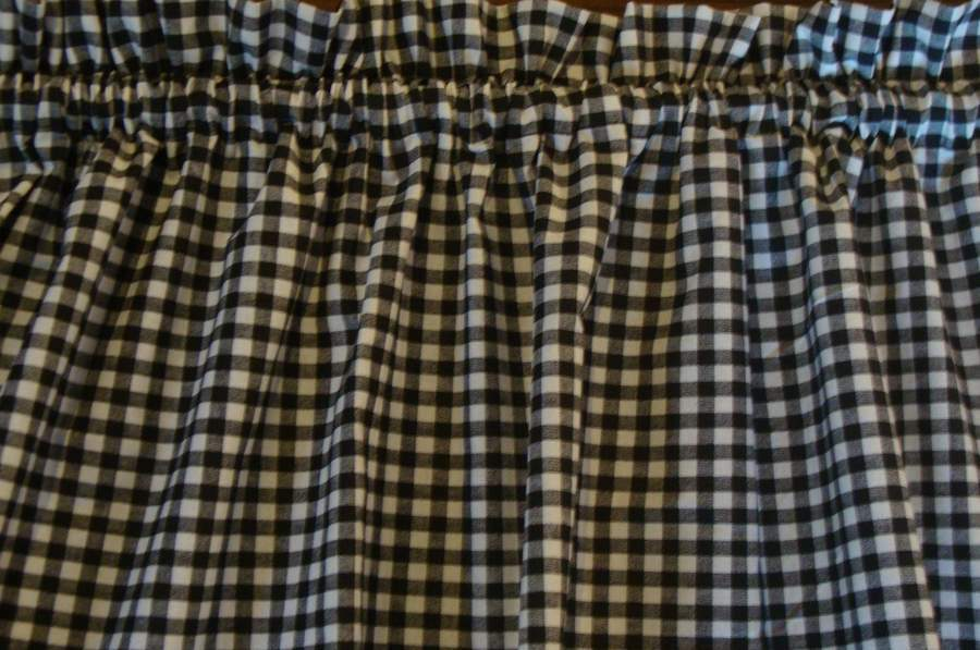 Valance Black And White Check Curtain Gingham Cotto For
