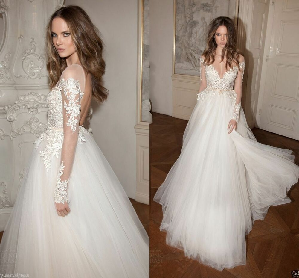 New tulle berta appliques lace wedding dress long sleeve for Ebay china wedding dress