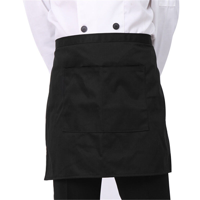 1 Pc Plain Black Half Size Waist Waiter Waitress Apron For
