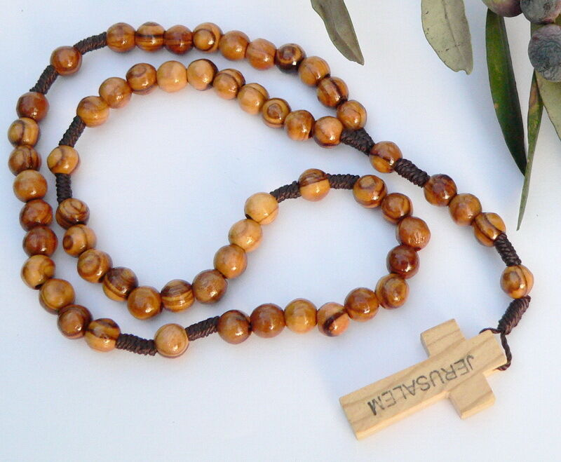 Holy Land Rosary Round Olive Wood Beads Jerusalem Wooden