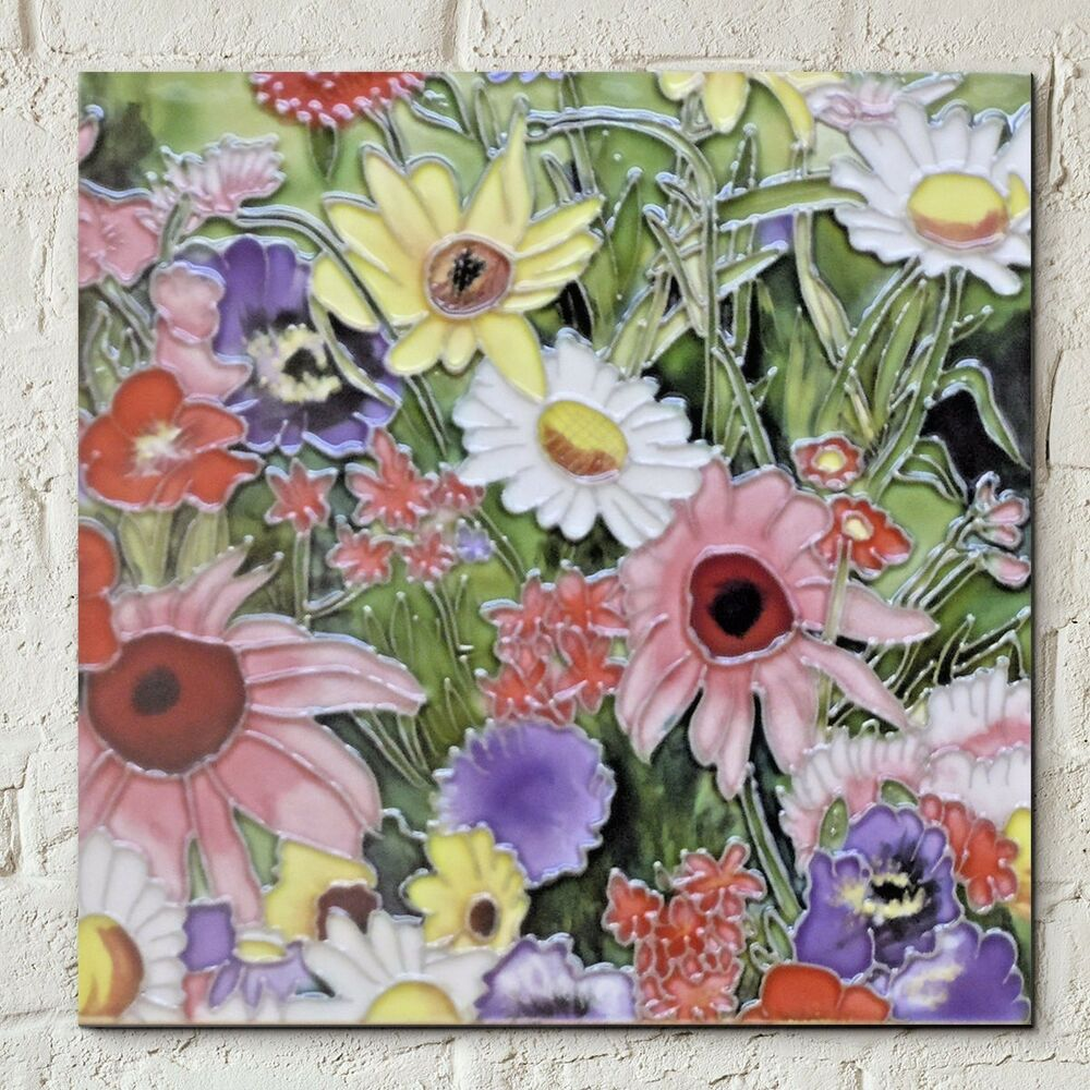 Ceramic Wall Flower Decor: Wild Flower 8x8 Ceramic Picture Tile Floral Wall Plaque