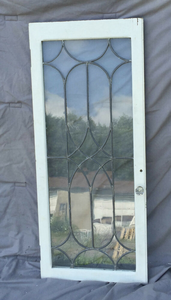 Antique Leaded Glass Cabinet Cupboard Pantry Door Bookcase