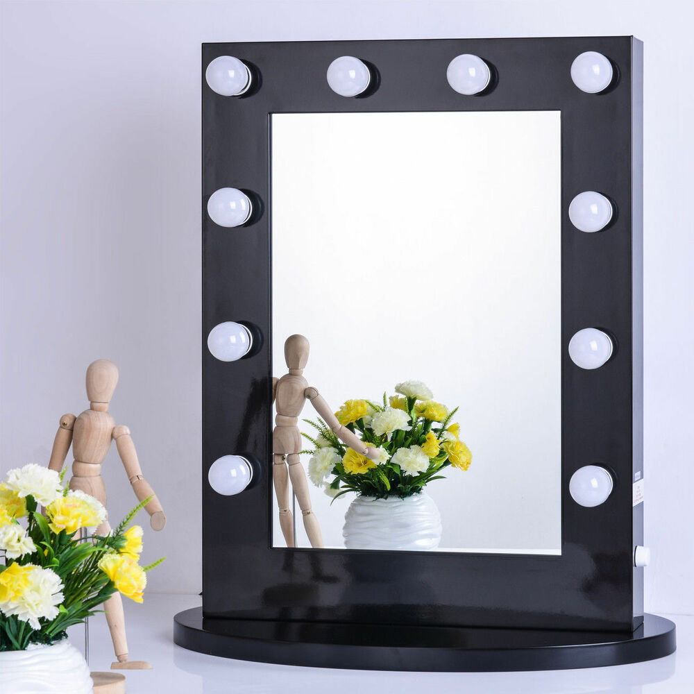 Black vanity lighted hollywood makeup mirror with dimmer for Beauty mirror