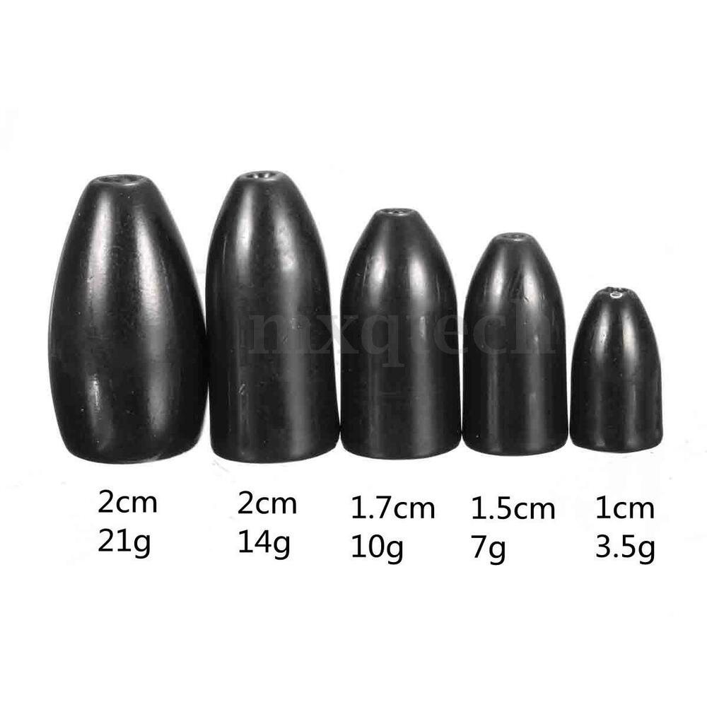 1 8 3 4oz black tungsten weight bullet sinker flipping for Bullet weight fishing