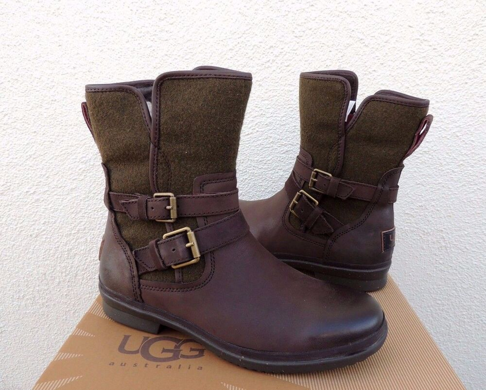 Ugg Simmens Leather Wool Sheepskin Waterproof Ankle Boots