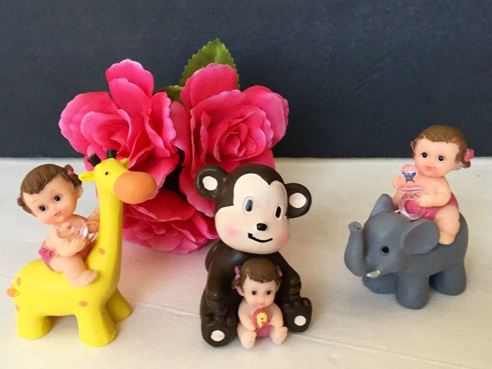 Cake Decorating Animal Figures : 3PC Baby Shower Girl Cake Topper Decorations Animals ...