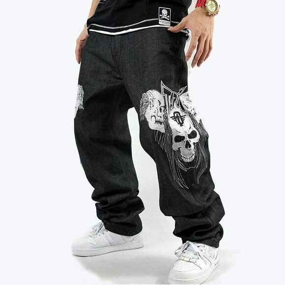 new men 39 s hip hop jeans black denim embroidery skull skeleton trousers w30 w44 ebay. Black Bedroom Furniture Sets. Home Design Ideas