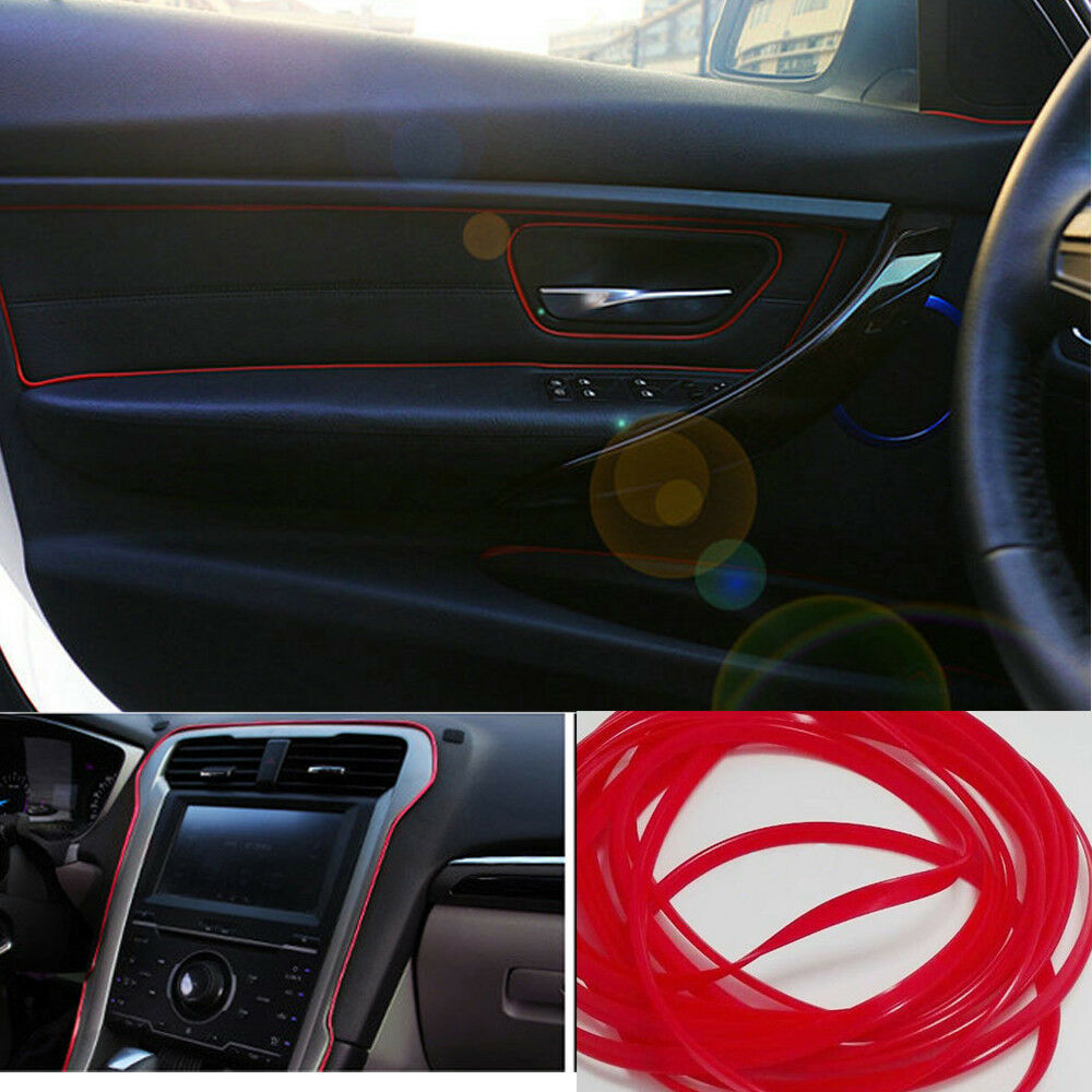 universal car interior red edge gap line garnish 5m highlight molding accessory ebay. Black Bedroom Furniture Sets. Home Design Ideas