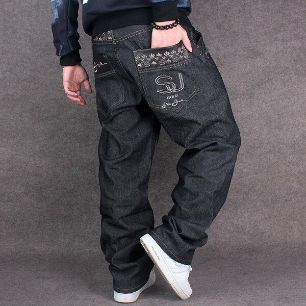 new mens jeans black denim baggy loose casual pants