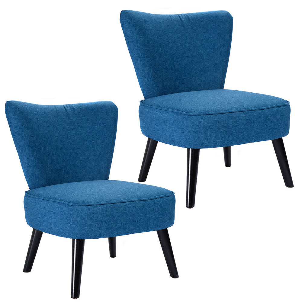 Set of 2 armless accent dining chair modern living room furniture fabric wood ebay - Modern living room chair ...