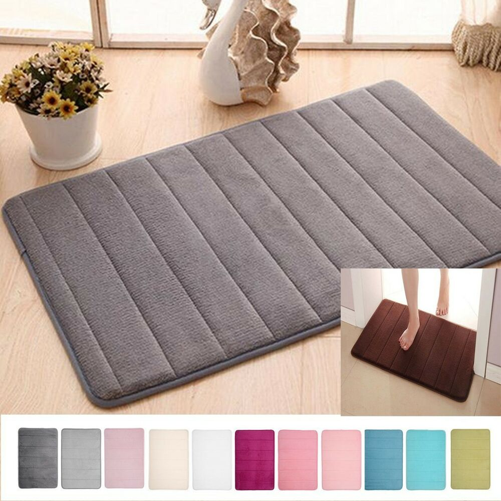Memory Foam Soft Bathroom Bedroom Bath Mat Floor Rug Carpet With Non Slip Bac