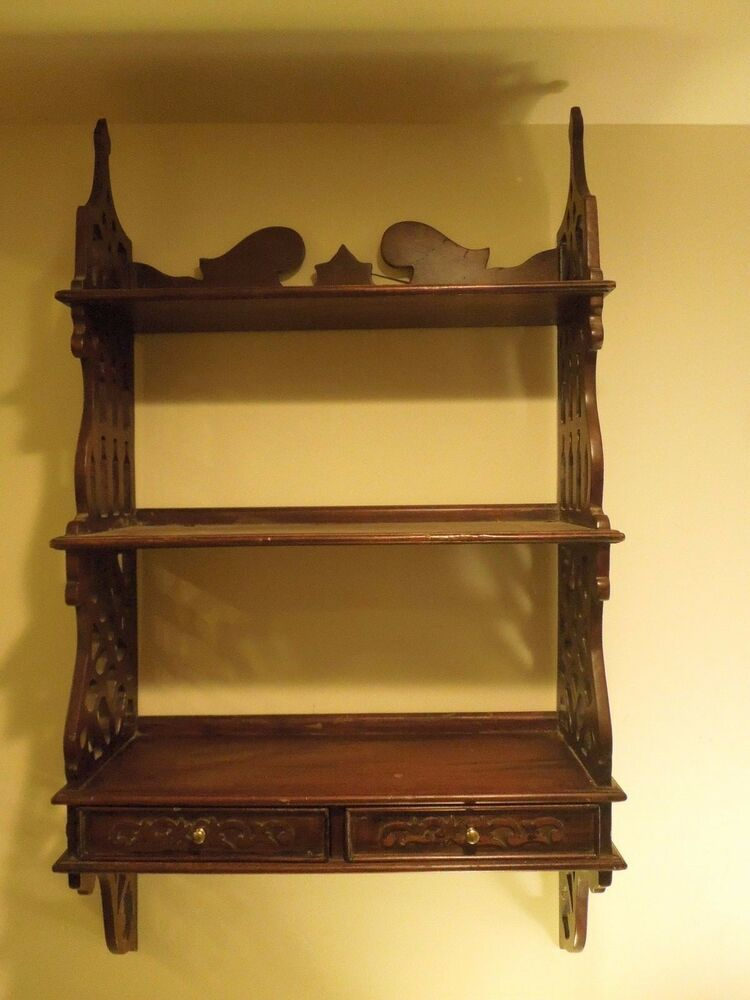 vintage dark wood gothic style victorian style wall shelf with drawers ebay. Black Bedroom Furniture Sets. Home Design Ideas