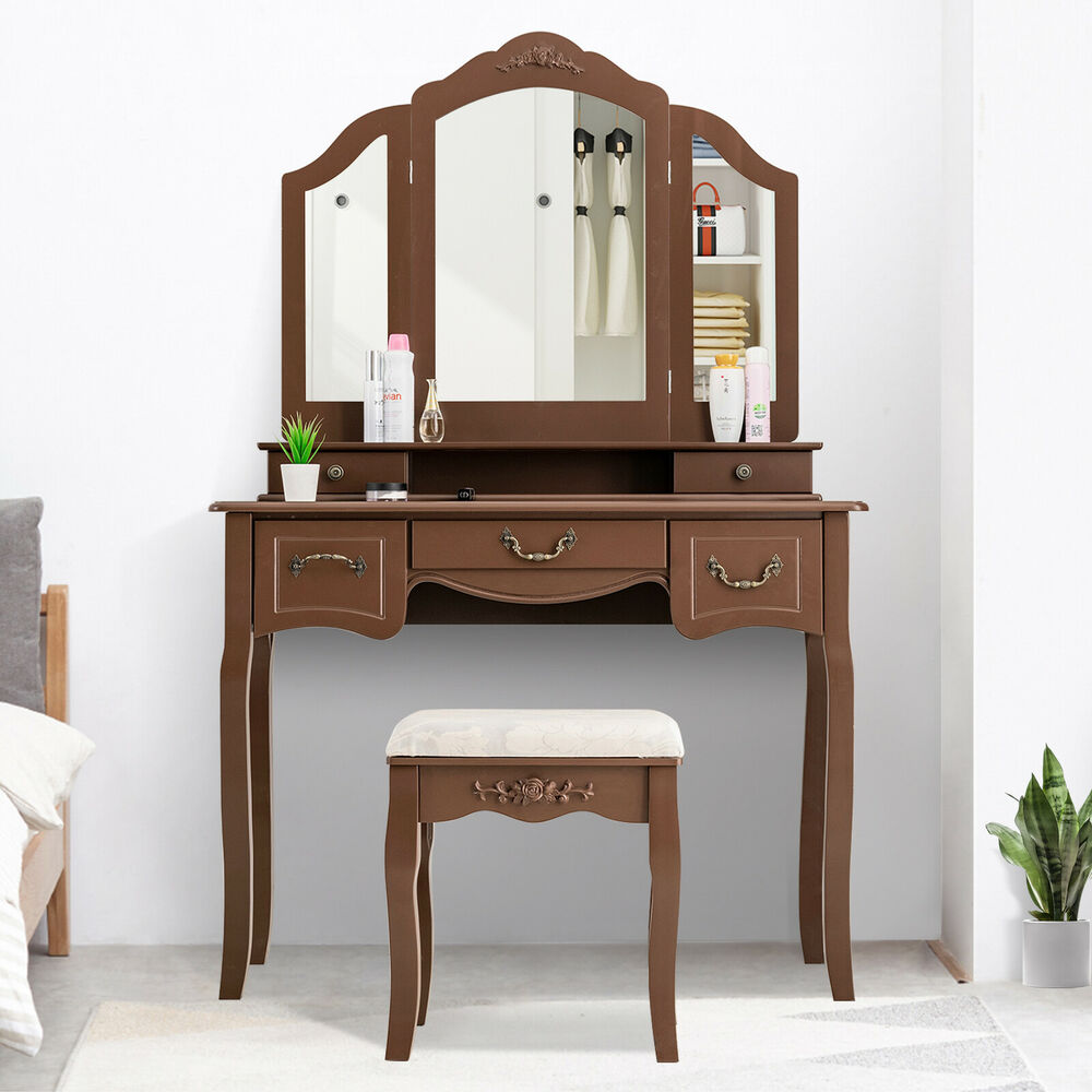 Makeup Dressing Vanity ~ White vanity wood desk makeup dressing table set w stool