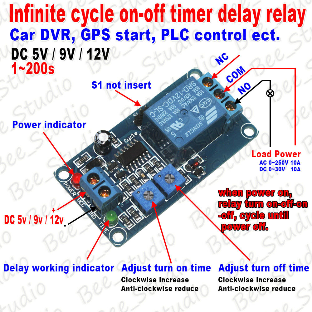 5v 9v 12v infinite cycle loop timer delay time turn on off
