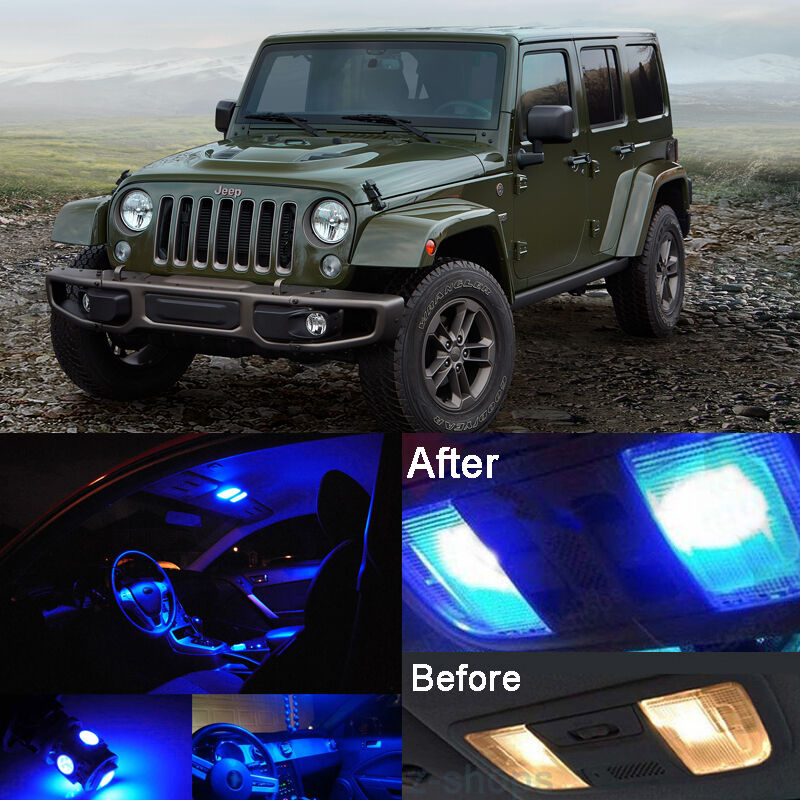 Blue Led Interior Kit Blue License Light Led For Jeep Wrangler Jk 2007 2016 Ebay